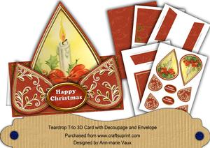 Red Single Candle Happy Christmas Teardrop Card Kit