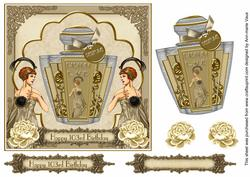 Cream Art Deco Perfume 103rd Birthday 7in Decoupage Topper
