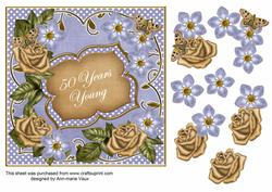 Blue Gold Fmk 50 Years Young 7in Fancy Decoupage Topper