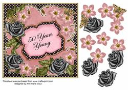Pink Black Fmk 50 Years Young 7in Fancy Decoupage Topper