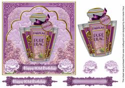 Lilac Floral Perfume 101st Birthday 7in Decoupage Topper