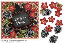 Red Black Fmk 50 Years Young 7in Fancy Decoupage Topper