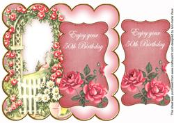 Pink Rose Arch 50th Birthday 8in Scallop Topper