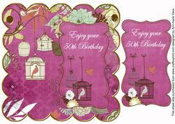 Cerise Birdcage 50th Birthday 8in Scallop Topper