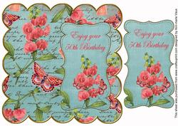 Teal Sweetpeas 50th Birthday 8in Scallop Topper
