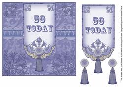 Blue 50 Today 7in Ornate Lace Tag Topper