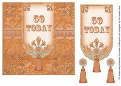 Burnt Orange 50 Today 7in Ornate Lace Tag Topper