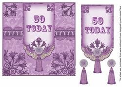 Lilac 50 Today 7in Ornate Lace Tag Topper