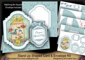 Love Birdcage Large Fancy Stand Up Card N Envelope Kit