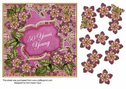 Cerise Met Fleur 50 Years Young Fancy 7in Deco Topper