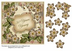 Cream Met Fleur 50 Years Young Fancy 7in Deco Topper