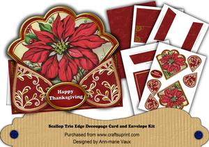 Red Poinsettia Happy Thanksgiving Scallop Trio Kit