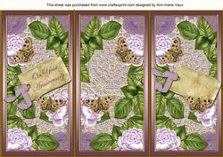 Lilac Roses Your Anniversary Quick Tri-fold Card