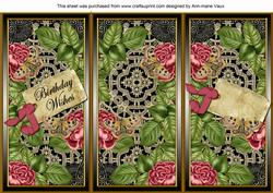 Dpink Blk Roses Birthday Wishes Quick Tri-fold Card