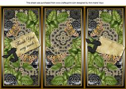 Black Roses Thank You Quick Tri-fold Card