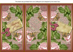 Pink Roses Thinking of You Quick Tri-fold Card