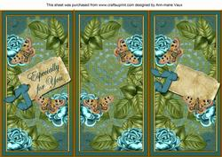 Teal Roses Especially for You Quick Tri-fold Card