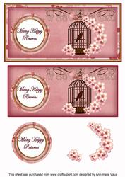 Pink Birdcage Many Happy Returns Dl Decoupage Topper