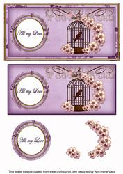 Lilac Birdcage All My Love Dl Decoupage Topper
