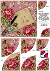 Deep Pink Roses 101 Today 6in Duo Corner Stacker