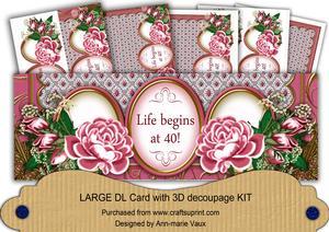 Cerise Rose Life Begins at 40 Large Dl Decoupage Card Kit
