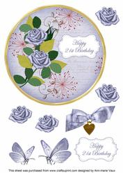 Blue Rose 21st Birthday 7in Circle Decoupage Topper