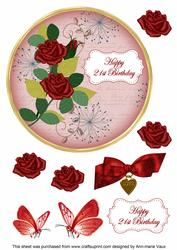 Red Rose 21st Birthday 7in Circle Decoupage Topper