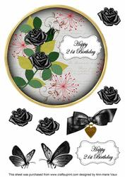 Black Rose 21st Birthday 7in Circle Decoupage Topper