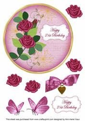 Cerise Rose 21st Birthday 7in Circle Decoupage Topper