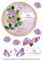 Lilac Rose 21st Birthday 7in Circle Decoupage Topper
