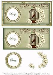 Olive Birdcage Sorry Dl Decoupage Topper