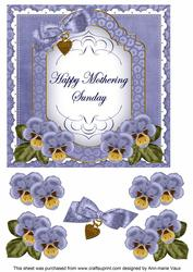 Dblue Pansy Mothering Sunday Fancy 7in Decoupage Topper