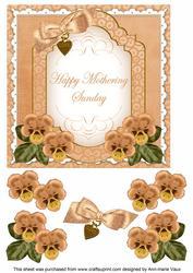 Borange Pansy Mothering Sunday Fancy 7in Decoupage Topper
