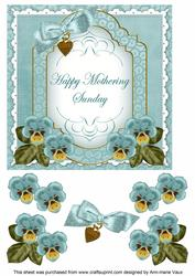 Dteal Pansy Mothering Sunday Fancy 7in Decoupage Topper