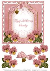 Pink Pansy Mothering Sunday Fancy 7in Decoupage Topper