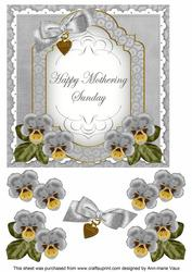 Silver Pansy Mothering Sunday Fancy 7in Decoupage Topper