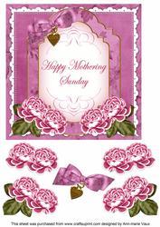 Cerise Rose Mothering Sunday Fancy 7in Decoupage Topper