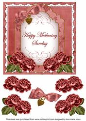 Dred Rose Mothering Sunday Fancy 7in Decoupage Topper