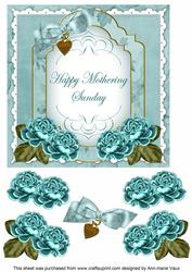 Dteal Rose Mothering Sunday Fancy 7in Decoupage Topper