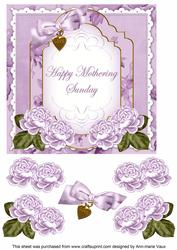 Lilac Rose Mothering Sunday Fancy 7in Decoupage Topper