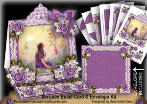 Lavender Fairy Lace Top Easel Card & Envelope Kit