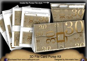 Bronze 30th Birthday 3D File Purse Mini Kit