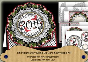 Black & Red Dotty 30th Birthday 3D Doily Card & Envelope Kit
