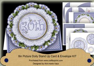 Blue Dotty 30th Birthday 3D Doily Card & Envelope Kit