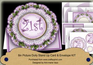 Lilac Dotty 21st Birthday 3D Doily Card & Envelope Kit