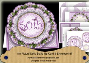 Lilac Dotty 50th Birthday 3D Doily Card & Envelope Kit