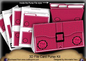 Pink Black Dotty 21st Birthday 3D File Purse Mini Kit