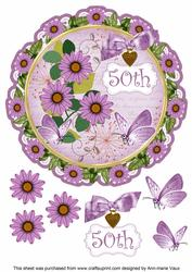 Lilac Daisy 50th 8in Doily Decoupage Topper