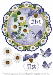 Classic Daisy 21st 8in Doily Decoupage Topper