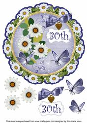 Classic Daisy 30th 8in Doily Decoupage Topper
